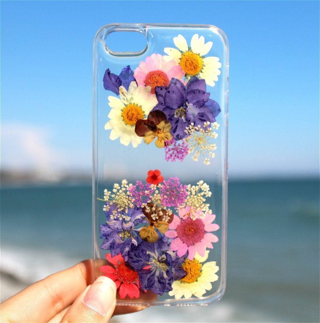 Handmade Real Purple Larkspur and Daisies Flowers and White Daisies Blossom iPhone 7 Phone Case, iPhone 8 Case, iPhone 10 (X) Cover, iPhone SE, iPhone 5/5S Floral Ultra Thin Soft Clear Silicone Rubber Case Cover