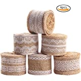 Purture 6Pcs Natural Burlap Lace Craft Ribbon Roll , 12 Yards DIY Handmade Crafts Lace Wedding Favor Decoration Shipping by FBA