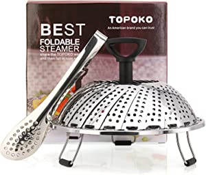 Premium Vegetable Steamer Basket Best Bundle, Fits Instant Pot Pressure Cooker, 100% Stainless Steel, Retractable Handle, Bonus Accessories One Serving Tongs