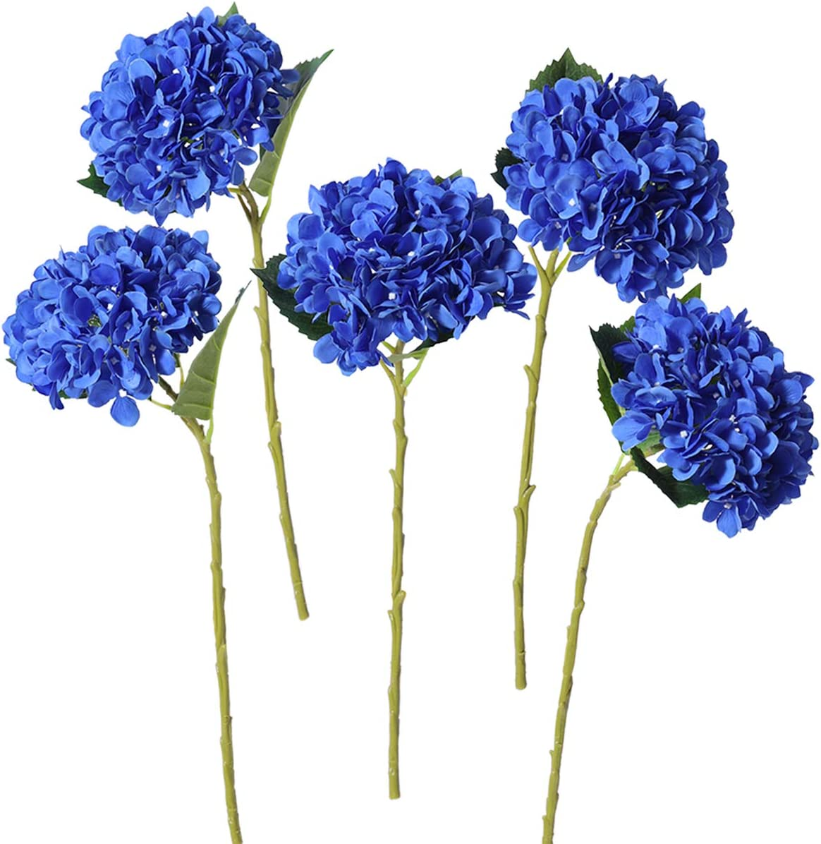 PARTY JOY 5PCS Artificial Hydrangea Silk Flowers Bouquet Faux Hydrangea Stems for Wedding Centerpieces Home Decor (Royal Blue, 5)