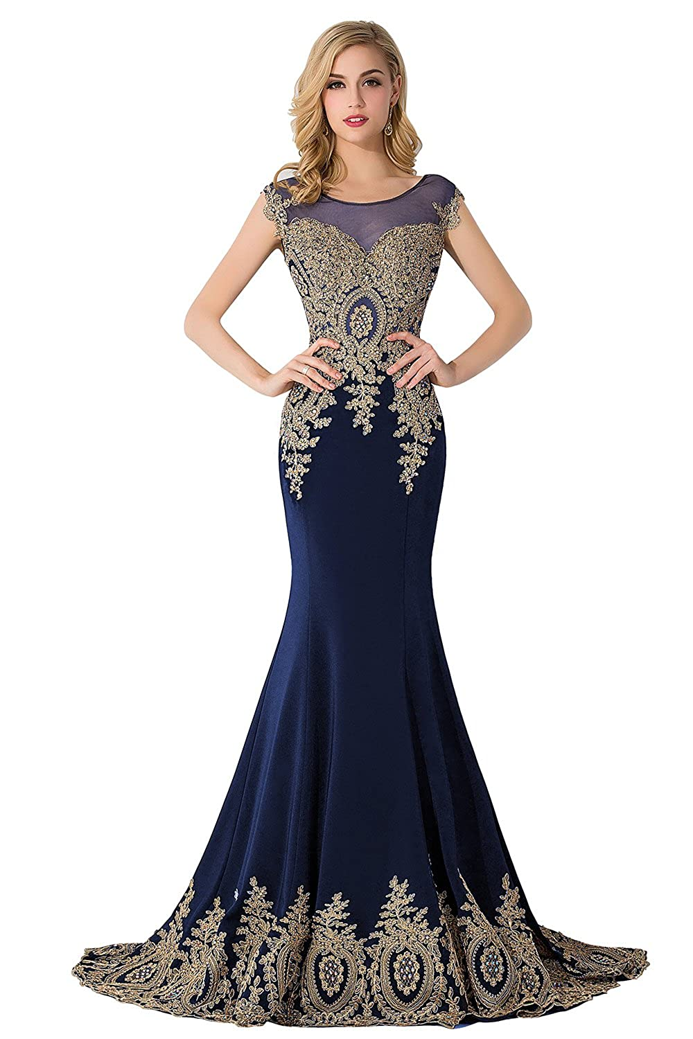 4109817e145 Amazon.com  MisShow Women s Rhinestone Long Applique Trumpet Mermaid  Evening Prom Dresses  Clothing