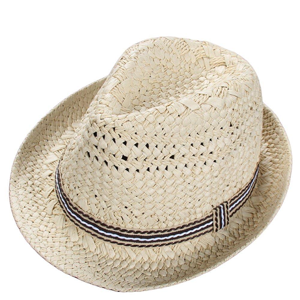Leisial cappello di paglia Estate Berretti per bambini Spiaggia cappello per bambini Ragazzi e ragazze cappello, 49-52cm, cachi Beige 17102068ITL105