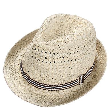 Children Beach Straw Hat Summer Jazz Panama Trilby Fedora Cap Breathable Sunhat