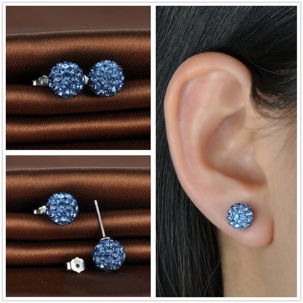Infinite U 3/pares plata de ley 925/8/mm Color blanco morado azul Shamballa bolas de cristal Ear Studs Pendientes para las mujeres//ni/ñas