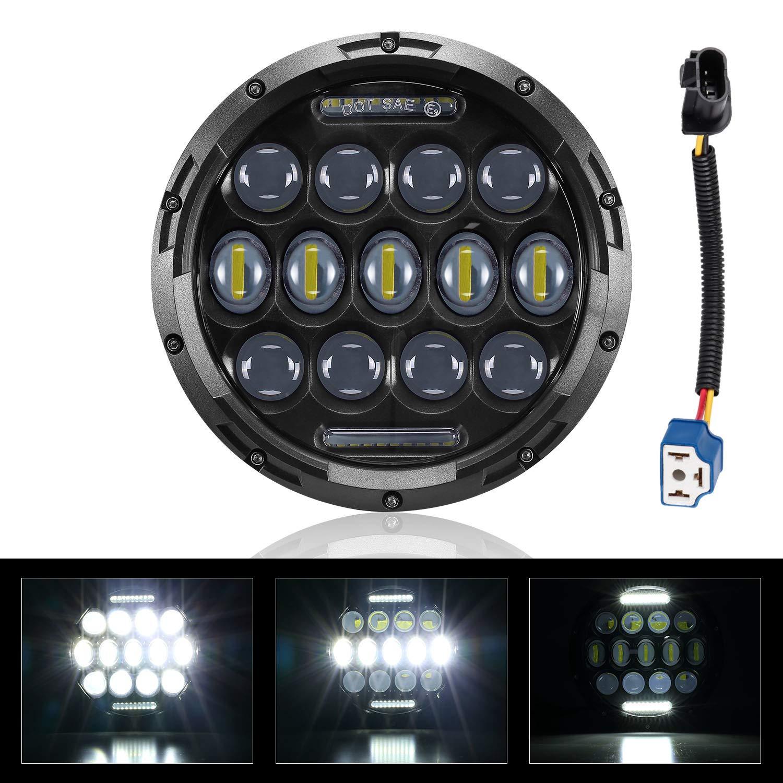 7 LED Headlight Motorcycle Headlamp Head Light for Heritage Softail Road King Street Glide Electra Glide Ultra CVO Headlight High Low Beam Light Bulb Projector