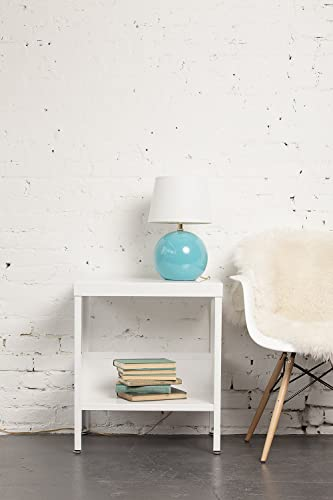 RMP Mid Century Industrial Nightstand/End Table White - the best modern nightstand for the money