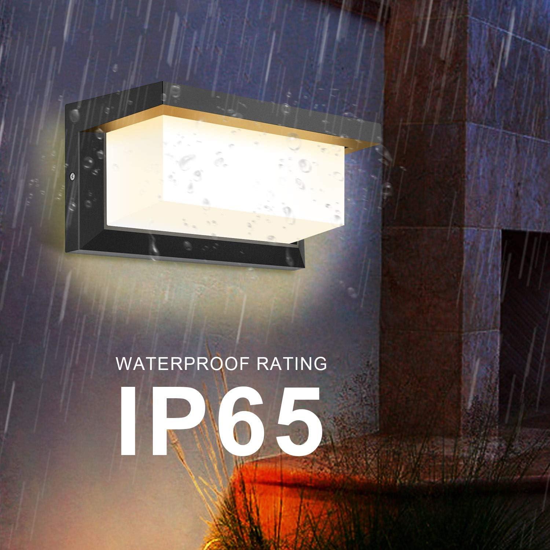 Blanc chaud DECMAY LED Applique Murale Ext/érieure 18 W /Éclairage Ext/érieur IP65 /Étanche Carr/é Radar Induction Contr/ôle Lumi/ère pour Patio Balcon Garage Garage Atelier