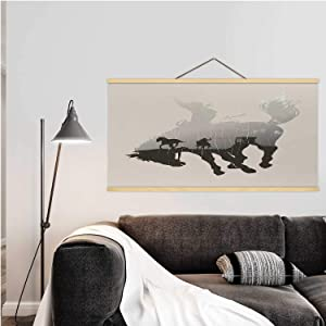 Hitecera Double Exposure of Cowboy Chasing Wild Horse Through Desert on a Rodeo Cowboy,Magnetic Frame Postersfor Wall 24''W x 12''H
