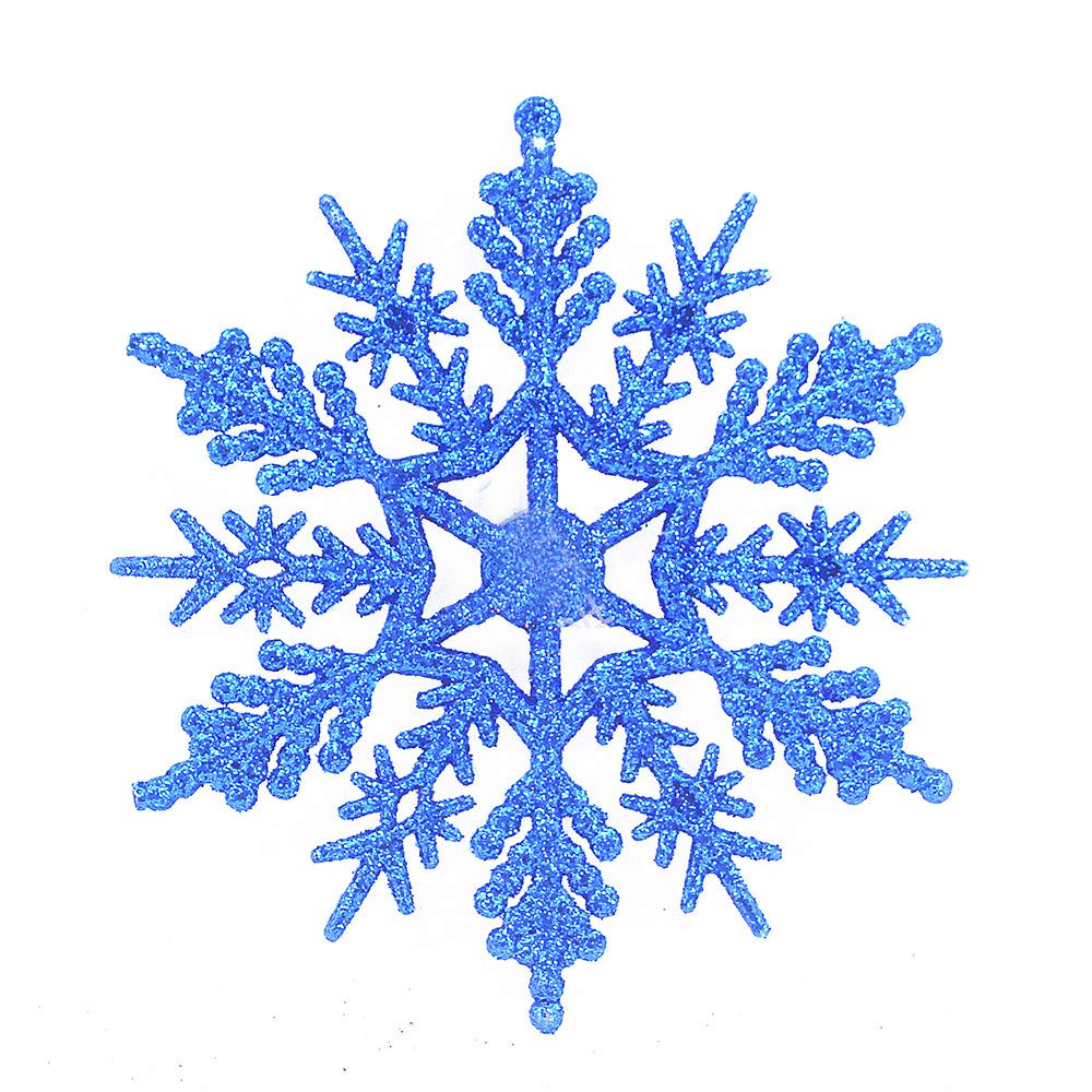 Cyhulu Glitter Christmas Snowflake Ornaments(Pack of 6Pcs), Hot Xmas Tree Snowflake Craft Party Home Hanging Decoration (Blue, One size)