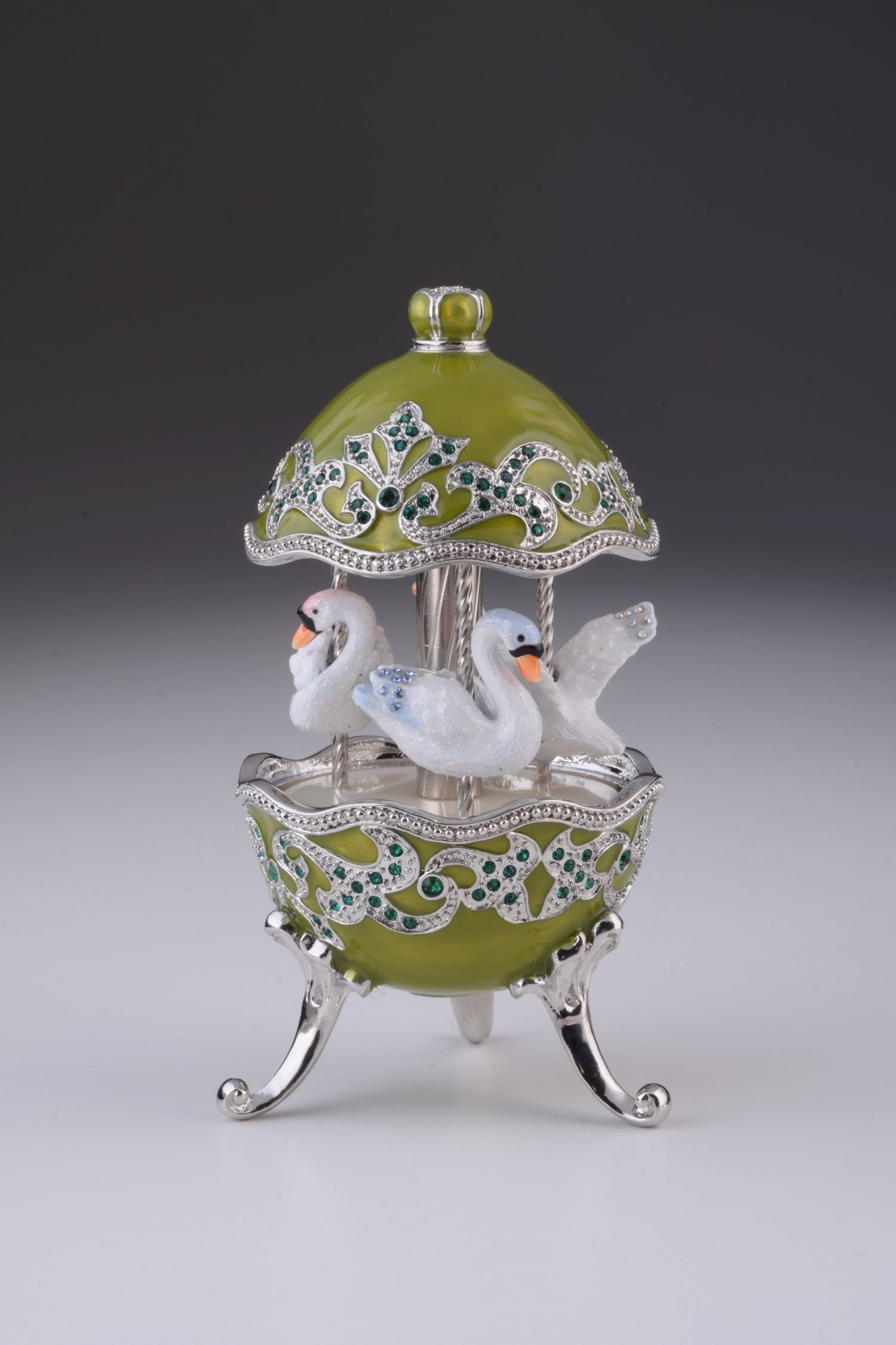 Green Carousel Egg with White Swans Spinning Music Box by Keren Kopal Faberge Styled Swarovski Crystals by Keren Kopal