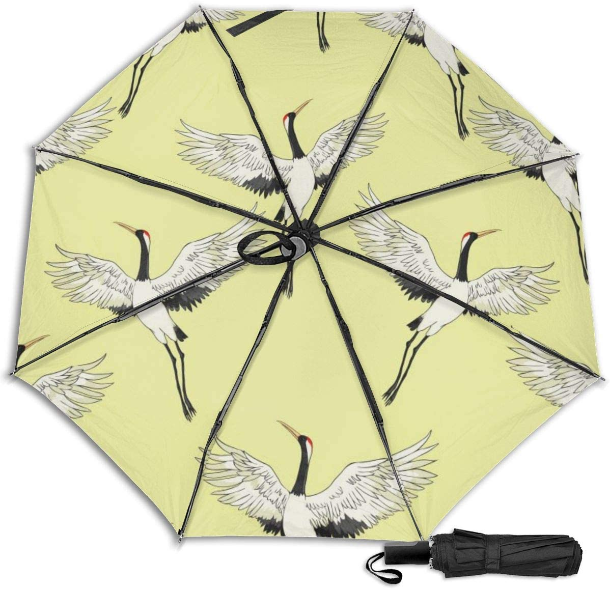 Crane Seamless Pattern Windproof Travel Umbrella Manual Tri-fold Umbrella