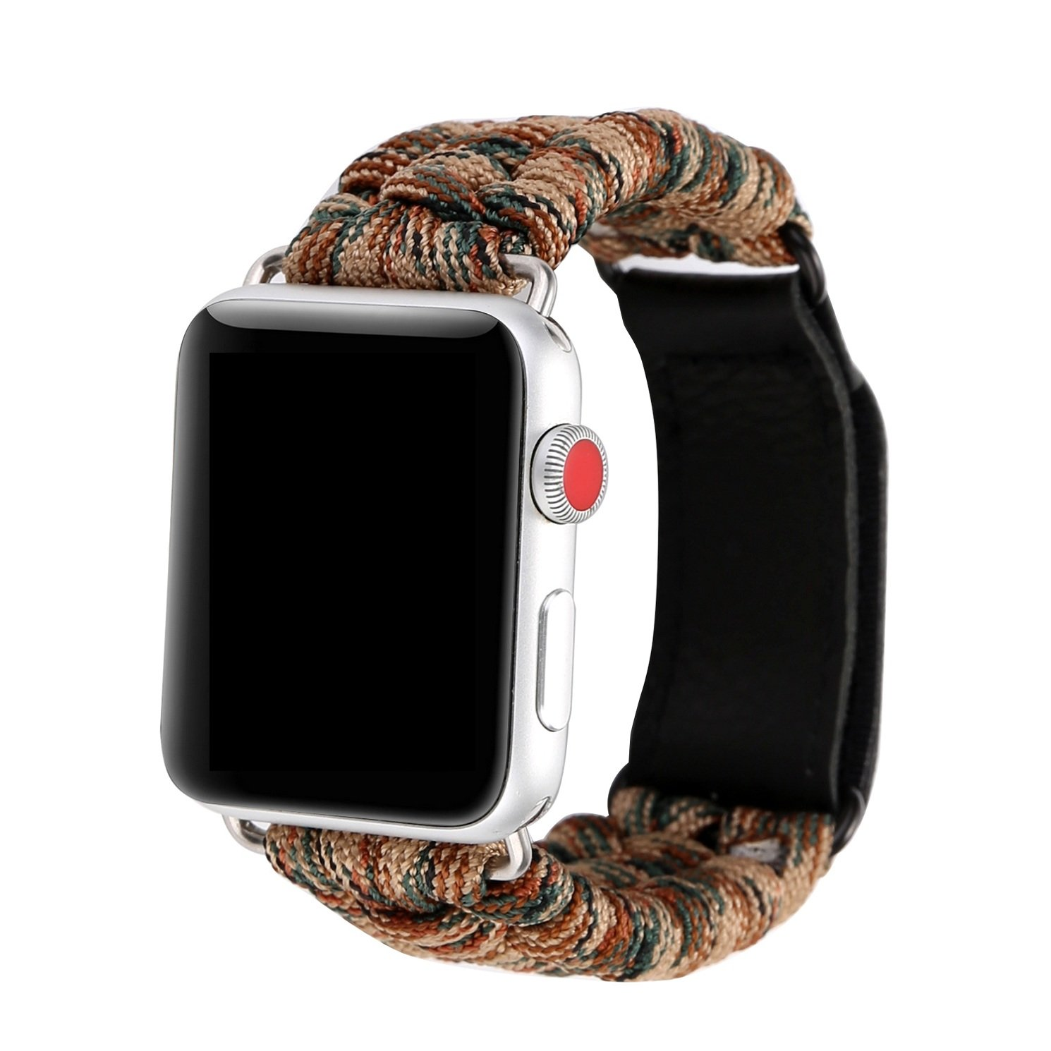 Juzzhou Band For Apple Watch iWatch Series 1/2/3 Sport Style Edition Man Woman Replacement Plait Textile Wriststrap Bracelet Wristband Wrist Strap With Adapter Magic Clasp Camouflage Brown Green 42mm