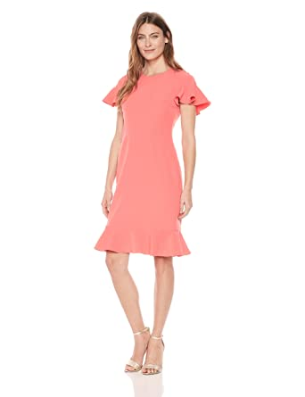 Maggy London Women s Crepe Sheath with Flounce Hem and Sleeve at Amazon  Women s Clothing store  bbd71e4bb