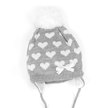 NEU   Baby Mädchen Strick Mütze Bommelmütze zum Binden grau weiß Herzen    36-44 b5af4a08c9