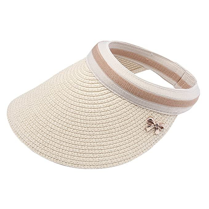 Women Summer Shade Cap Straw Empty Top Summer Sunscreen Sun Hat Beach Hats  Sun Visor Caps 8a79c70bc3c8