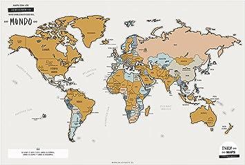 Enjoy Maps World Mapa Diseñada con Tinta Rascable, Papel ...