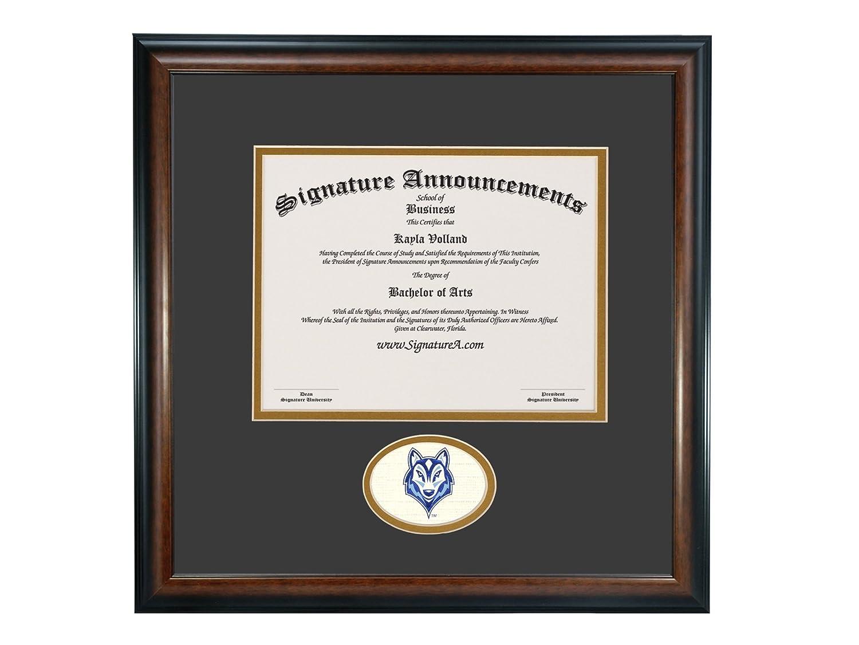 Signature Announcements University-of-Southern-Maine Undergraduate Sculpted Foil Seal Graduation Diploma Frame 16 x 16 Matte Mahogany
