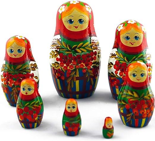 Russian Nesting Dolls 7 Piece Matryoshka Stacking Wooden Vintage Set Kids Adults