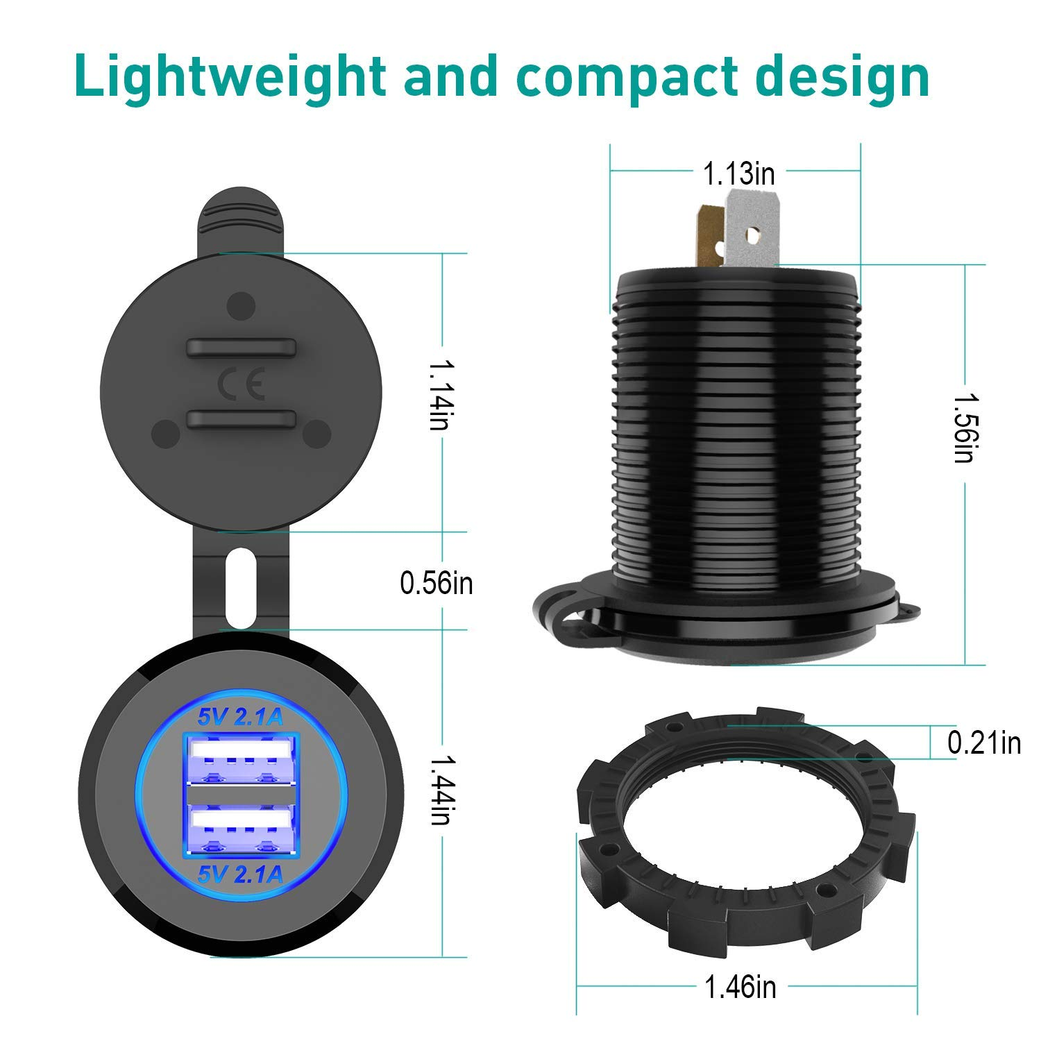 ZBLighting Dual 4.2A USB Car Charger Socket Waterproof Power Car Power Charger Socket Outlet 4.2A Fast Charge Car Charger Adapter for 12V~24V Vehicles Car Boat Motorcycle SUV Truck Caravan Marine