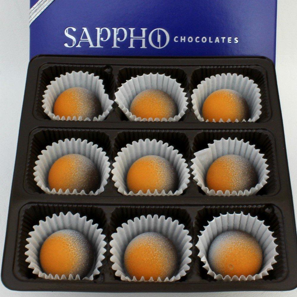 Gourmet Vegan Orange Dark Chocolate Truffles, Gift Box, Hand-Crafted, Holiday Gifts, Gourmet, Organic, Gluten-free, Dairy Free, No GMOs, Sappho Chocolates