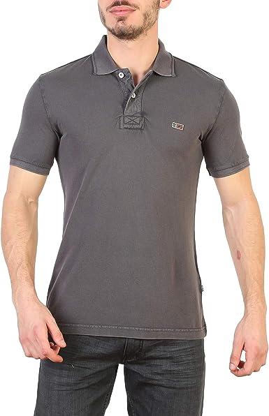 Napapijri Dark Grey Polo Shirt in Cotton Jersey, Mens.