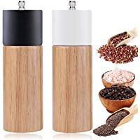Salt and Pepper Grinder Set With Black and White Tall Salt and Pepper Shakers with Adjustable Coarseness, Salt Grinders…