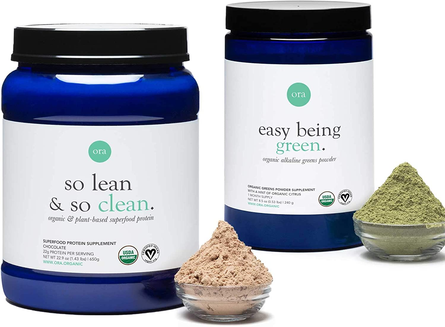 Ora Organic Fitness Bundle - Plant-Based Chocolate Protein & Greens Superfoods Powder - Made with Clean, Vegan Ingredients