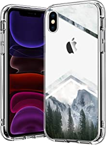 BICOL iPhone Xs Max Case,Forest Mountain Marble Pattern Clear with Design for Girls Women Transparent Plastic Hard Back Cover with TPU Bumper Protective Phone Case for Apple iPhone Xs Max