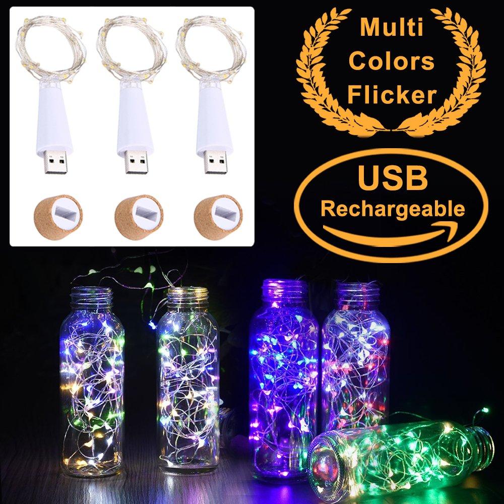 Bunten LED Flaschenlichter Lichterketten, USB Powered Akku, Korken ...