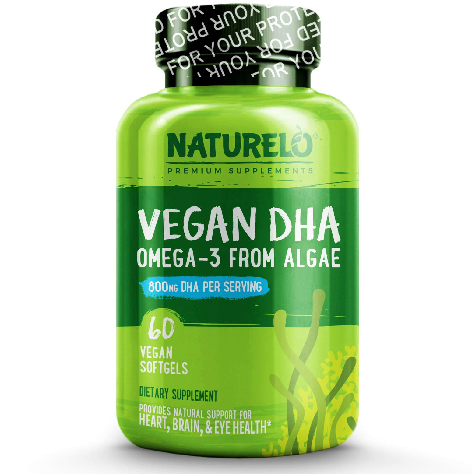 NATURELO Vegan DHA - Omega 3 Oil from Algae - Best Supplement for Brain, Heart, Joint, Eye Health - Provides Essential Fatty Acids for Women, Men and Kids - Complements Prenatal Vitamins - 60 Softgels by NATURELO