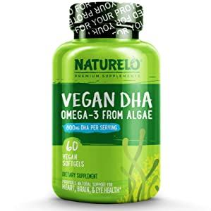 NATURELO Vegan DHA - Omega 3 Oil from Algae - Best Supplement for Brain, Heart, Joint, Eye Health - Provides Essential Fatty Acids for Women, Men and Kids - Complements Prenatal Vitamins - 60 Softgels