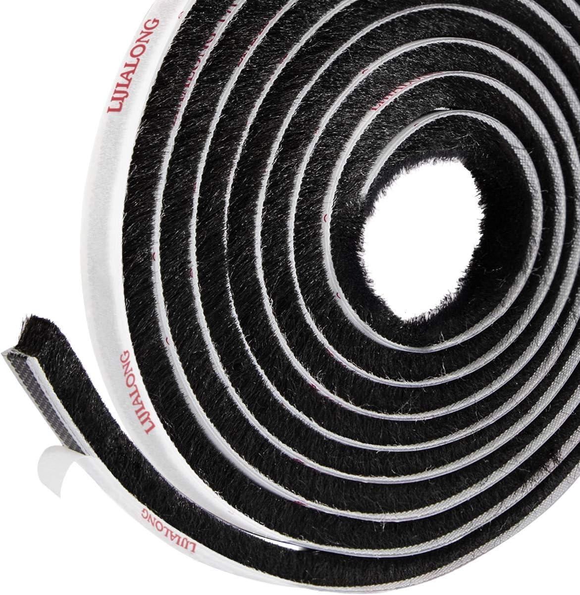 Sellado de cepillo autoadhesivo Burlete 4.9 m (L) x9 mm (W) x 9 mm (T) Tapón de aire de tiro Aire de alta densidad Excéntrico para puertas correderas Ventana y armario - Negro