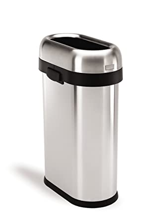 simplehuman Slim Open Trash Can  Commercial Grade  Heavy Gauge Stainless  Steel  50 L. Amazon com  simplehuman Slim Open Trash Can  Commercial Grade