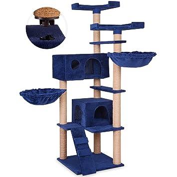 Leopet - Rascador para Gatos - Altura 160 cm - 2 Cuevas cómodas, 2 Plataformas, 2 hamacas y Escalera - Colores a Elegir: Amazon.es: Hogar