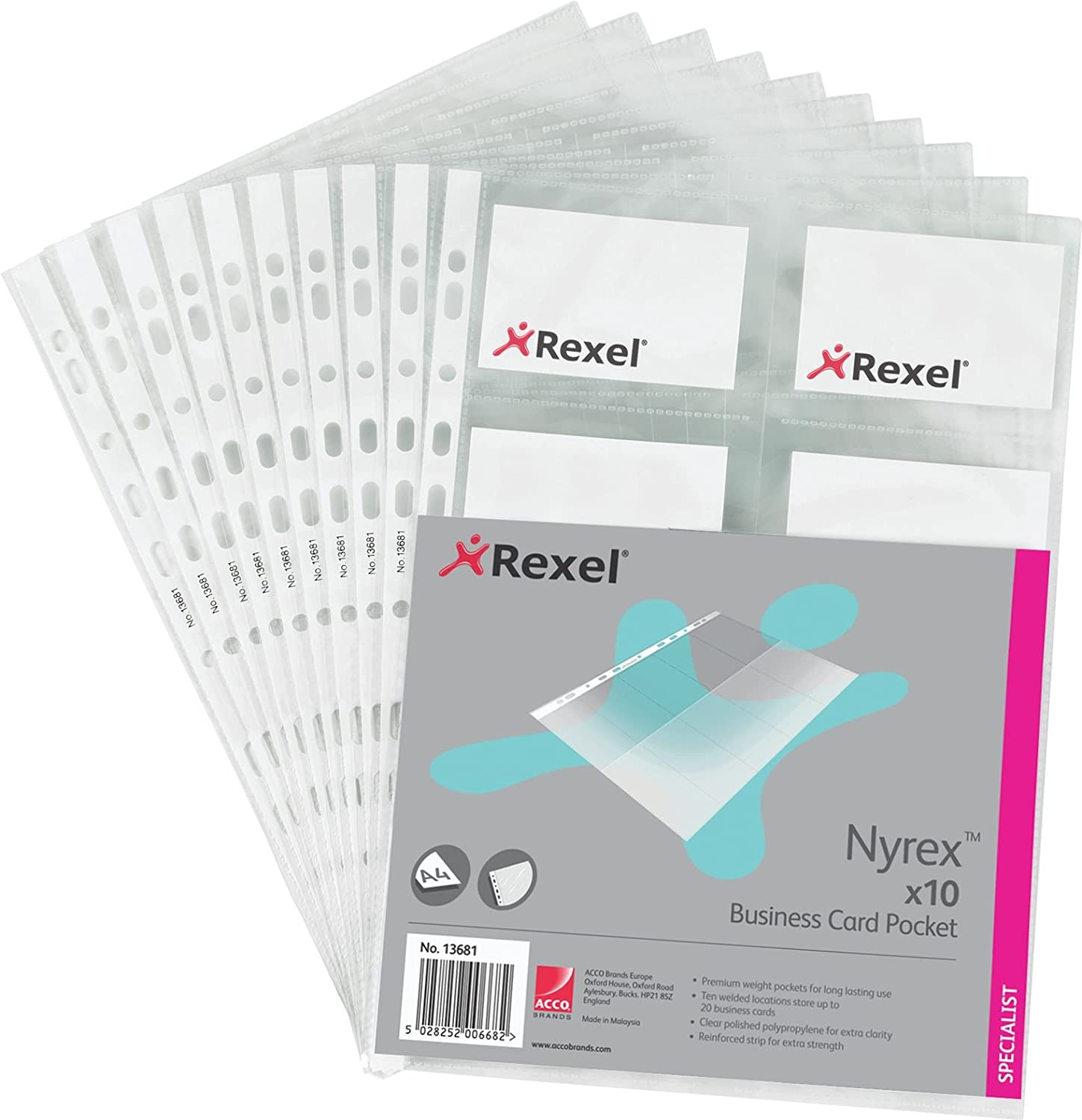 Rexel Nyrex Business Card Pockets for 20 Cards A4 Clear (10 Pack ...