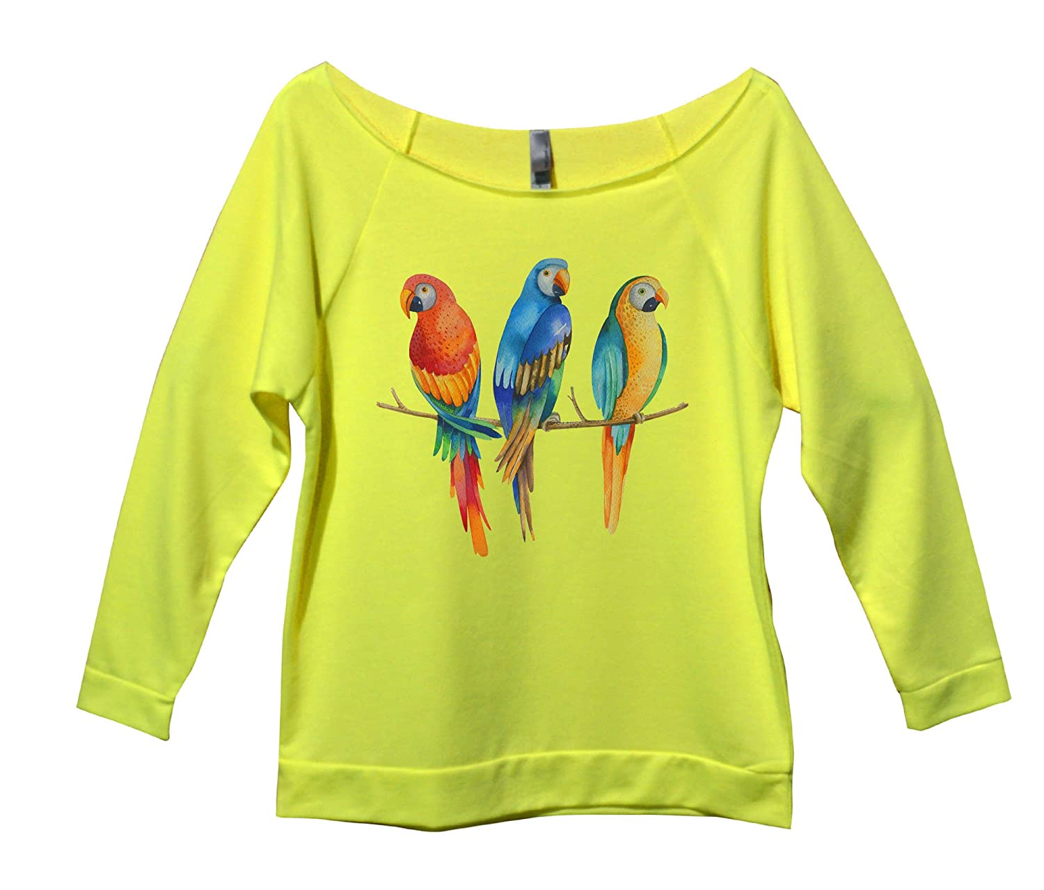 "Womens Fashion Off Shoulder Raglan 3/4 Shirt ""Macaws Parrots鈥"