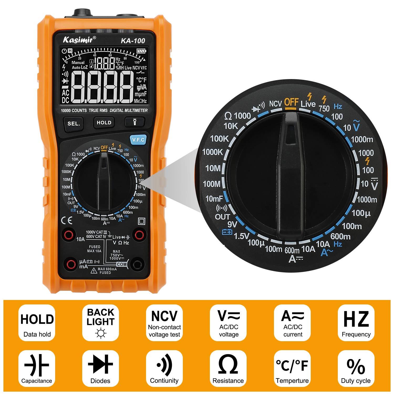 Multimetro Digitale 10000 Conti TURE RMS Kasimir KA100 Tester Digitali Professionale con LCD Tester DC AC Voltaggio Corrente Resistenza Tensione Diodo Transistore Frequenza e Temperatura ecc