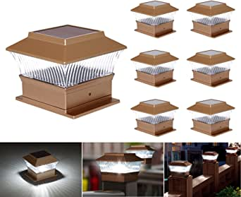 Solar Post Cap Lights Solar Deck Post Lights Solar Fence Post Lights Solar Post Lights for 3x3,3.5x3.5,4x4,5x5 or 6x6 Wooden Post White LED Light Garden Patio Decoration(6 Pack)