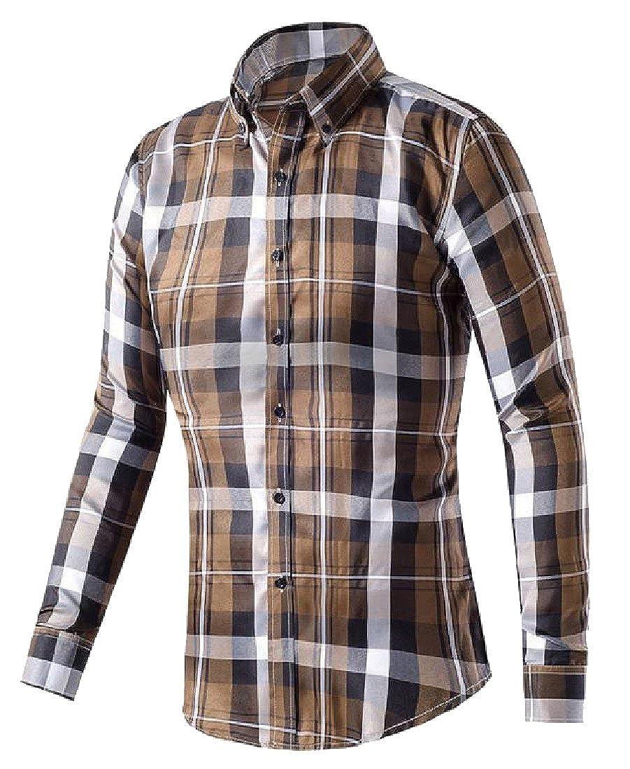 Winwinus Mens Long-Sleeved Wild Buttoned Lapel Dress Shirt Plaid Shirt