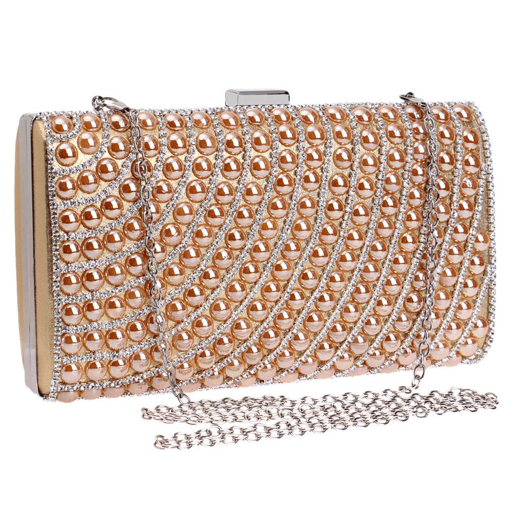 Jumedy Ladies Banquet Bag Can Also Be Used as A Gift to Friends Luxurious Diamond Diamond Evening Bag Exquisite Dinner Clutch Color : Gold