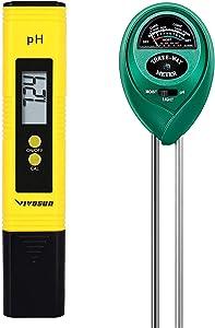VIVOSUN PH Meter Soil Tester Combo, Digital PH Water Tester and 3-in-1 Plant Moisture Light PH Meter for Garden