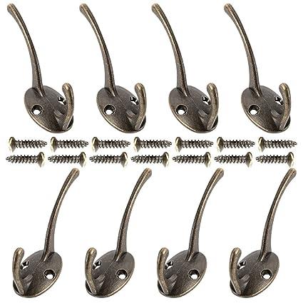 Comficent Ganchos para Colgar Antiguos Tamaño perchas Vintage bronce perchero de pared rústico ganchos colgadores (Bronce)