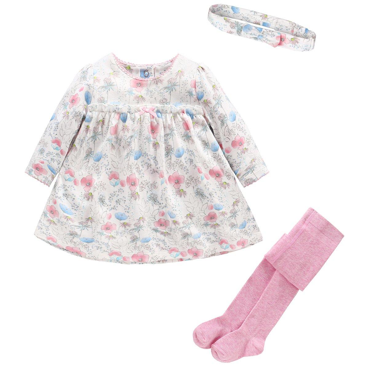 Neonata Vestito Tunica Floreale Shirt Maniche Lunghe + Fascia + Pantaloni Collant Set Ragazze Tuta Outfits C170707TZ001D