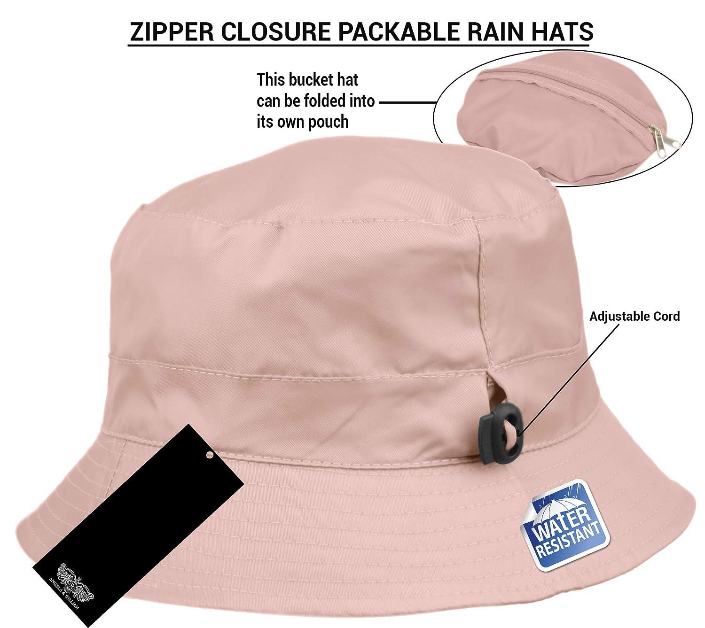 c76456b3 Adjustable Waterproof Bucket Rain Hat in Nylon, Easy to fold (A Navy) at  Amazon Women's Clothing store: