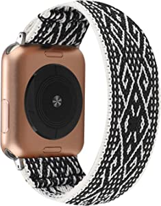 WONMILLE Compatible with Apple Watch Elastic Band 38mm/40mm, Embroidery Pattern Soft Nylon Women Stretchy Solo Loop Replacement for iWatch Series 6 5 4 3 2 1