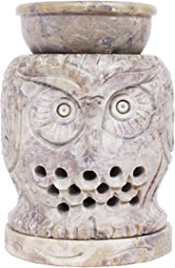 Hand Carved Essential Oil Burner Diffuser Made of Soapstone with Tea Light Holder Aromatherapy (Design2)