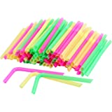 HOKIPO® Drinking Straws for THICK Shakes, Smoothies, Milkshake, Falooda - 100 Pieces, Multicolor