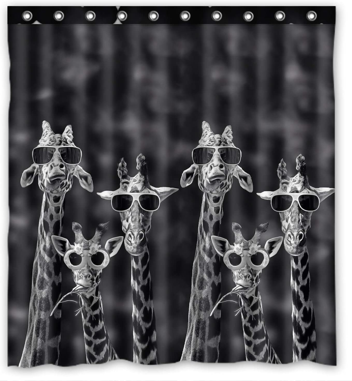 KXMDXA Cute Giraffe Wearing Glasses Funny Pattern Animal Waterproof Polyester Bath Shower Curtain Size 66x72 Inch
