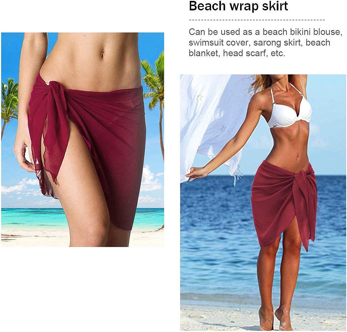 2PC Frauen Chiffon Sarong Strandtuch Bikini Cover up Wickelrock Wickeltuch Strandkleid Schal Halstuch ECOMBOS Damen Chiffon Sarong Pareo
