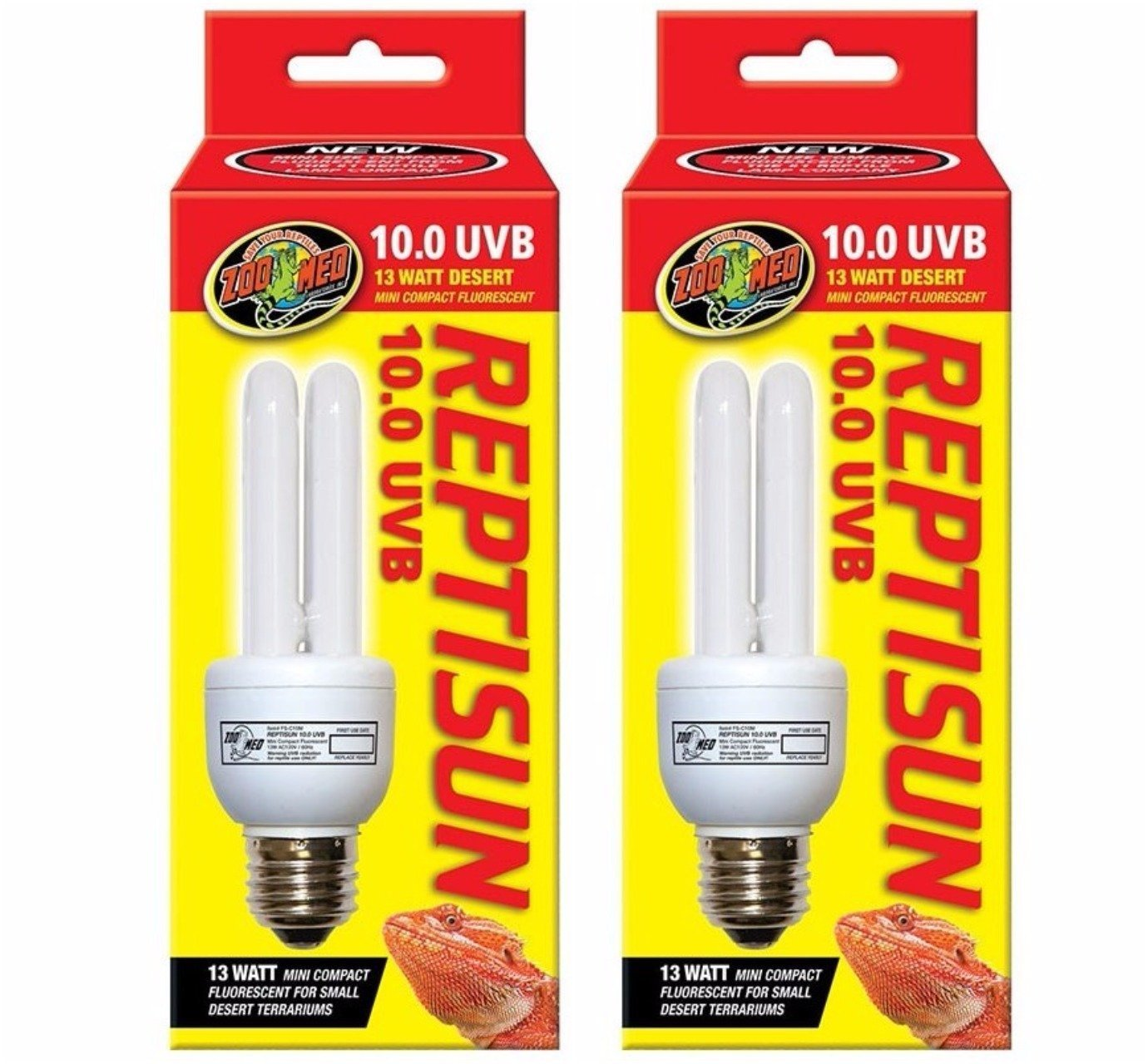 (2 Pack) Zoo Med Reptisun 10.0 Uvb Mini Compact Fluorescent by Zoo Med